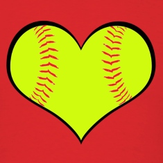 Men's Softball Heart T-Shirt