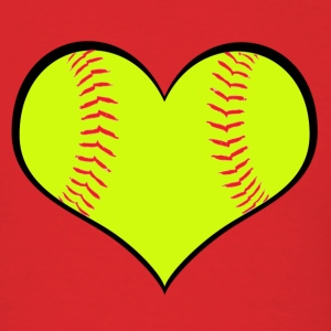 Men's Softball Heart T-Shirt - Men's T-Shirt