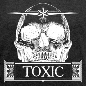 Toxic Skull - White T-Shirts - Women's Roll Cuff T-Shirt