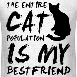 cat population is my bestfriend - black T-Shirts - Men's T-Shirt