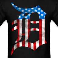 Design ~ Detroit American Flag Mens Tee