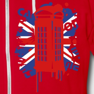 red telephone box with a British flag Zip Hoodies/Jackets - Unisex Fleece Zip Hoodie by American Apparel