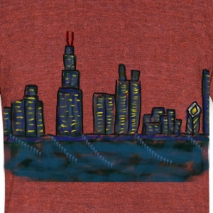 CITYMELTS CHICAGO SKYLINE T-SHIRT - Unisex Tri-Blend T-Shirt by American Apparel