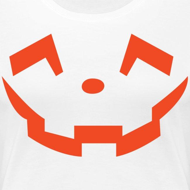 Women's premium t-shirt * Jack-o'-lantern (pumpkin face 5) (white)