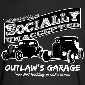 Outlaw's Garage. Socially unaccepted Hot Rods. Two Hot-Rods. For dark apparel. - Men's Long Sleeve T-Shirt