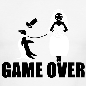 Game Over Penguin   T-Shirts - Men's Ringer T-Shirt