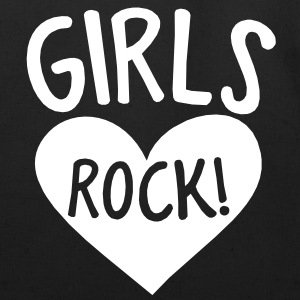 GIRLS rock hot chick shirt design with heart Bags  - Eco-Friendly Cotton Tote