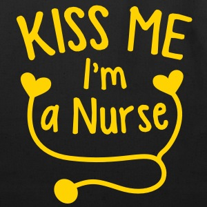 KISS ME I'm a NURSE! with love heart stethoscope Bags  - Eco-Friendly Cotton Tote