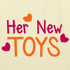 Her new toys with cute little love hearts funny! Bags  - Eco-Friendly Cotton Tote