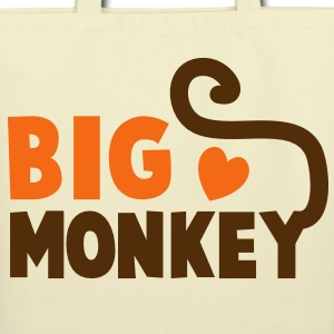 BIG MONKEY with a tail and a love heart good family design Bags  - Eco-Friendly Cotton Tote