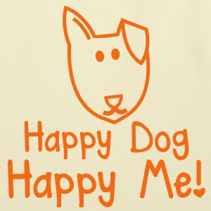 HAPPY DOG- HAPPY ME! with smiling puppy dog face Bags  - Eco-Friendly Cotton Tote