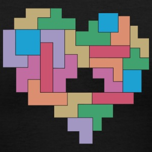 tetris love - Women's V-Neck T-Shirt