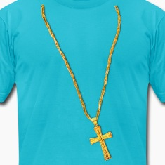 Long Gold Chain and Cross T-Shirts