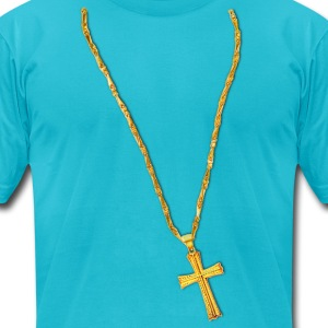 Long Gold Chain and Cross T-Shirts - Men's T-Shirt by American Apparel