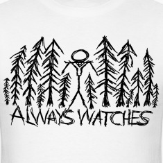 "White ""Always Watches"" Slenderman T-Shirt T-Shirts"