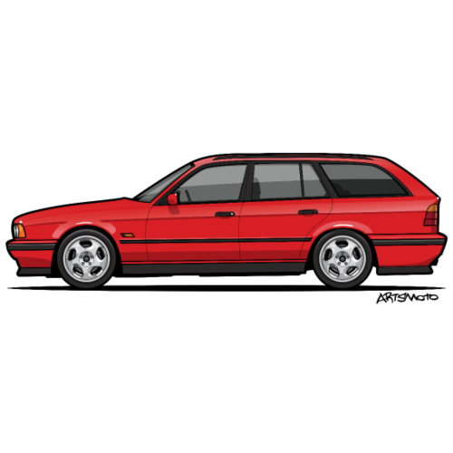 Brilliant Red Bavarian E34Fuenfer Wagon Kombi