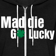 Design ~ MaddieGoLucky Zip-Up Hoodie (Unisex Black)