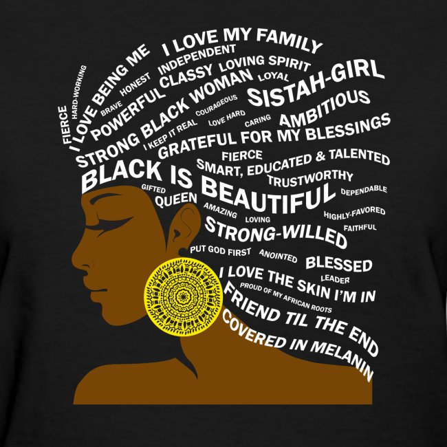 Black is Beautiful Hair Word Art T-Shirt | Women's T-Shirt