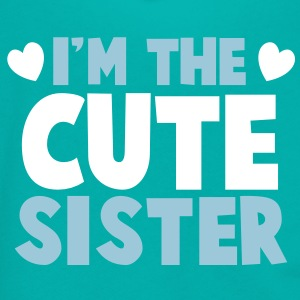 I'm the cute SISTER! with little hearts Zip Hoodies/Jackets - Unisex Fleece Zip Hoodie by American Apparel