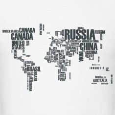 World Map Typography T-Shirts