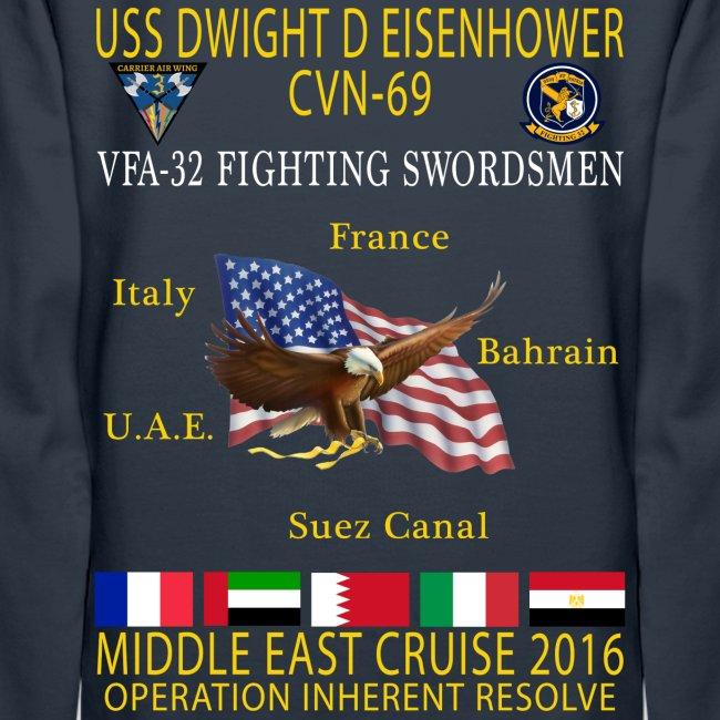 IKE AIRWING - VFA-32 FIGHTING SWORDSMEN 2016 CRUISE HOODIE (80/20) - WOMEN'S