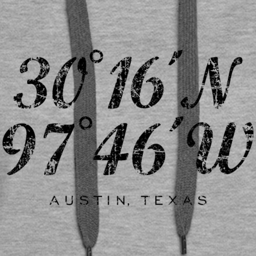 Austin, Texas Coordinates Vintage Black