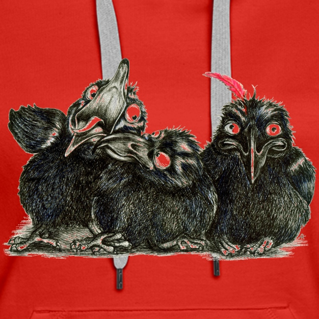Three Crows With Red Feather