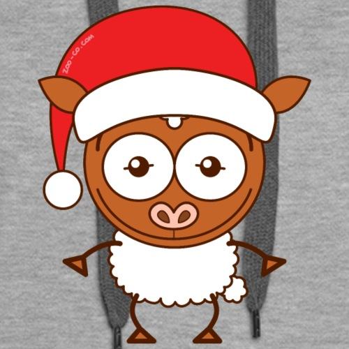 Christmas sheep wearing Santa hat