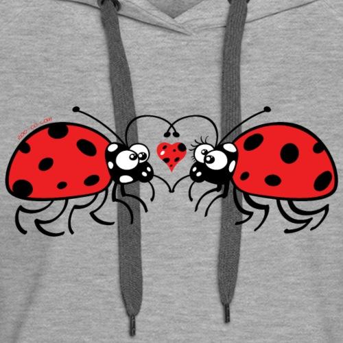 Adorable ladybugs sweetly falling in love