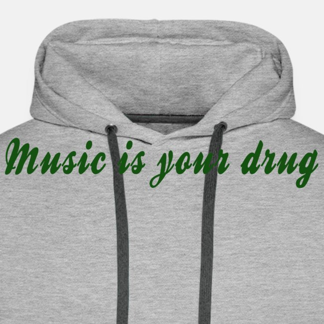 "Green ""music is your drug"" text hoodie"