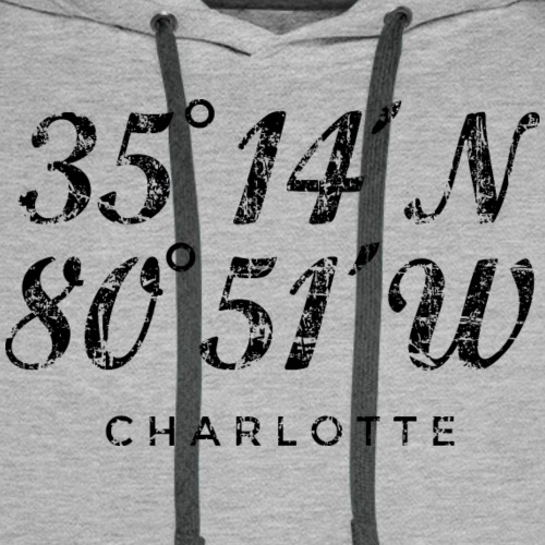 Charlotte North Carolina Coordinates Vintage Black