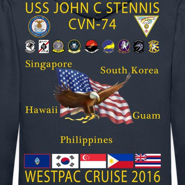 USS JOHN C STENNIS 2016 WESTPAC CRUISE HOODIE
