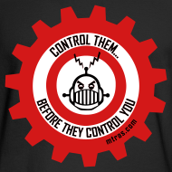 Design ~ MTRAS Control The Robots Black, Red & White - Long Sleeve Hanes