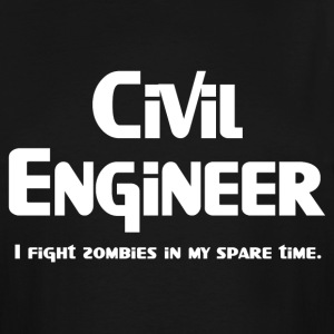White Civil Engineer Zombie Fighter T-Shirts - Men's Tall T-Shirt