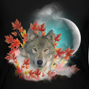 Wolf Harvest Moon Long Sleeve Shirts - Women's Long Sleeve Jersey T-Shirt