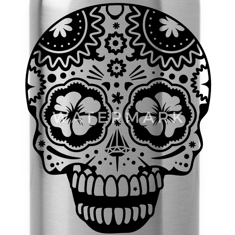 A laughing skull in the style of Sugar Skulls Accessories - Water Bottle