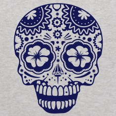A laughing skull in the style of Sugar Skulls Sweatshirts