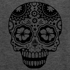 A laughing skull in the style of Sugar Skulls Tanks