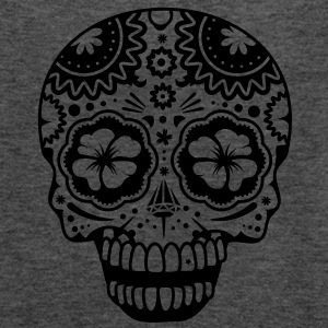 A laughing skull in the style of Sugar Skulls Tanks - Women's Flowy Tank Top by Bella