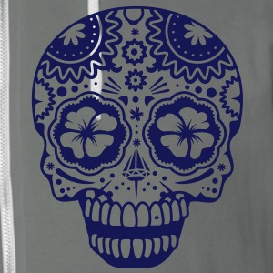 A laughing skull in the style of Sugar Skulls Zip Hoodies/Jackets - Unisex Fleece Zip Hoodie by American Apparel