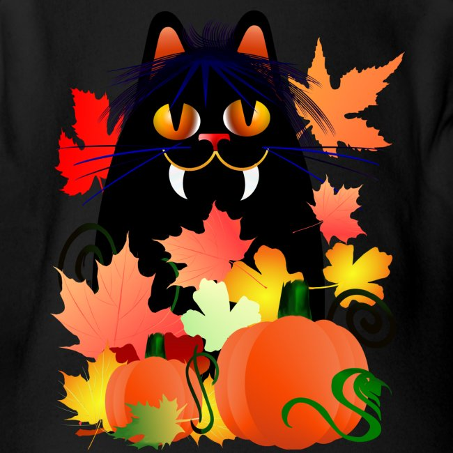 Black Halloween Kitty And Pumpkins