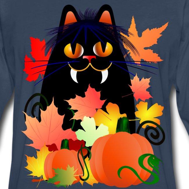 Black Halloween Kitty And Pumpkins