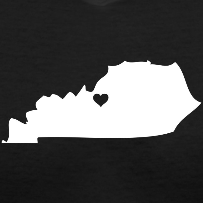 Kentucky Silhouette with Heart - Vneck Black