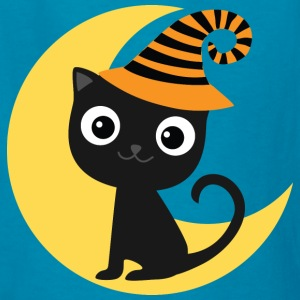 Halloween Black Cat and Moon Kids' Shirts - Kids' T-Shirt