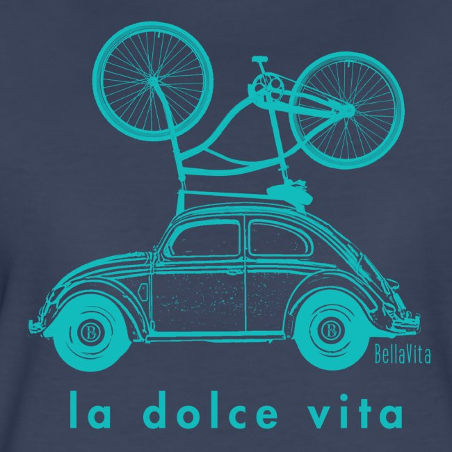 BellaVita Women's blue shirt- vintage car and bike