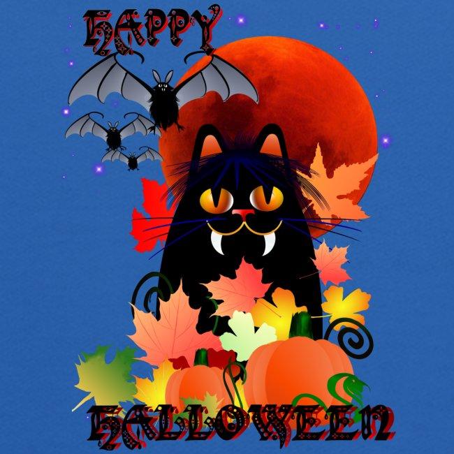 Black Halloween Kitty And Bats