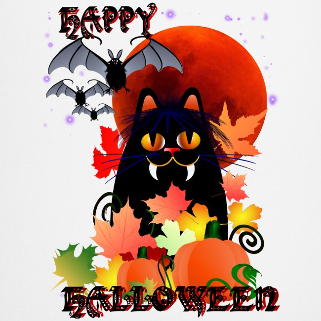 Black Halloween Kitty And Bats