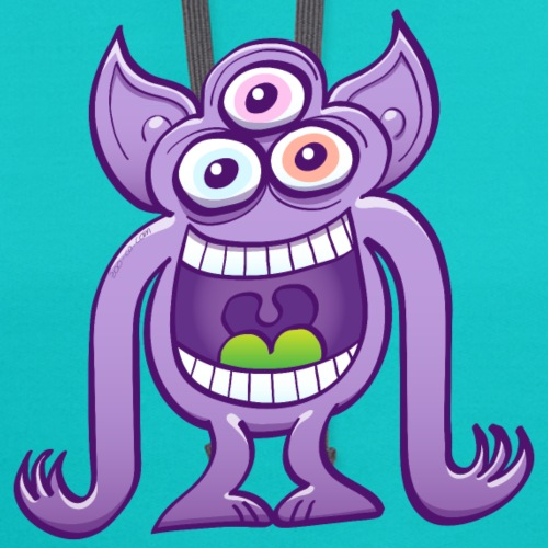 Three-eyed crazy alien laughing mischievously
