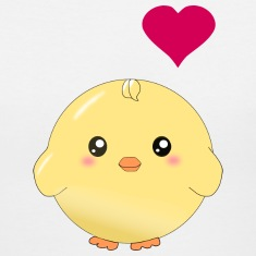 Cute yellow chick and heart