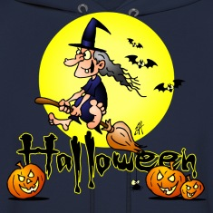 Halloween, witch on a broom, bats and pumpkins Hoodies